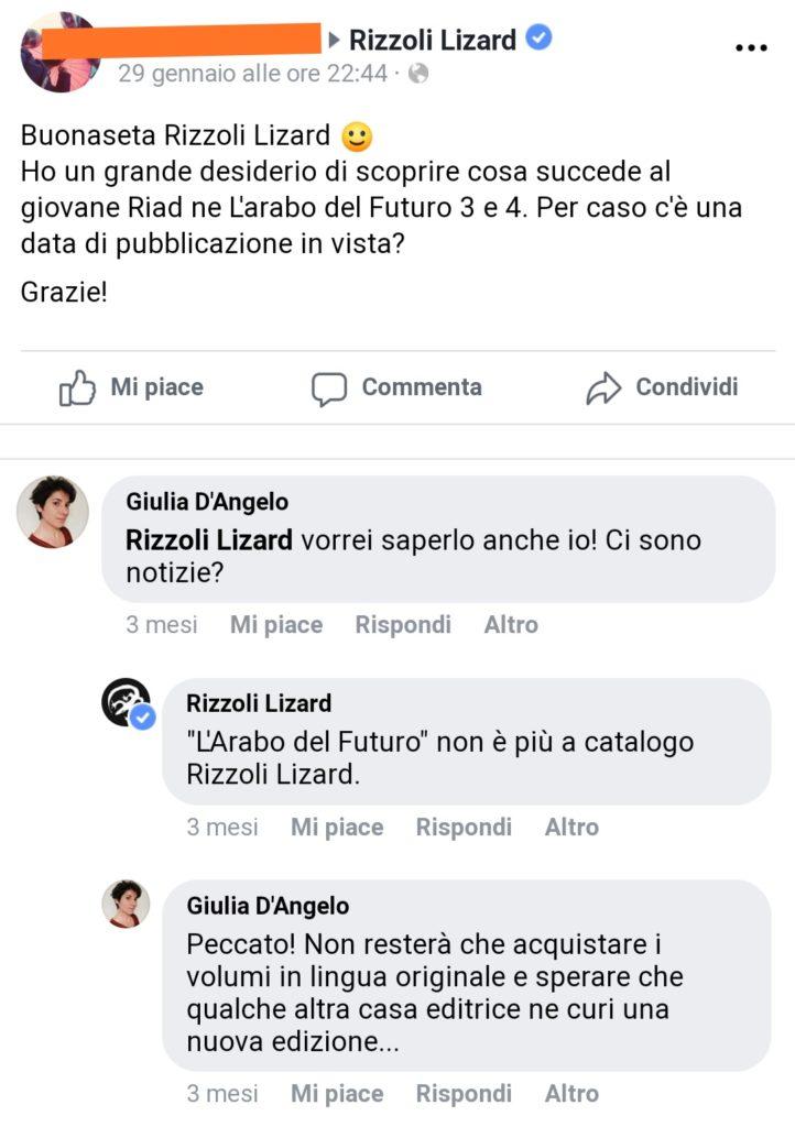 Mio caro fumetto... - Post di facebook sulla pagina di Rizzoli Lizard