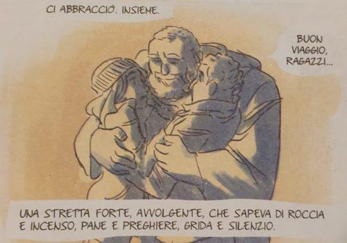 Mio caro fumetto... - Padre Saul, Iris e Ismail abbracciati in Non stancarti di andare