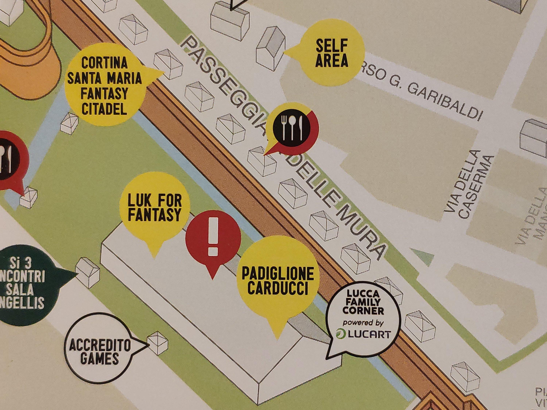 Mio Caro Fumetto - Lucca Comics & Rain 2019 - Dettaglio della mappa di Lucca Comics and Games 2019: padiglione Carducci.
