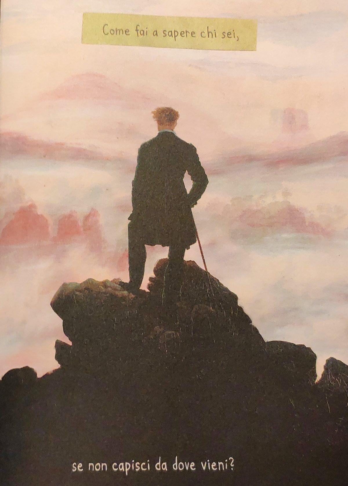 Mio Caro Fumetto - Heimat: un album di famiglia tedesco - Il quadro Viandante sul mare di nebbia di Friedrich secondo la visione di Nora Krug.