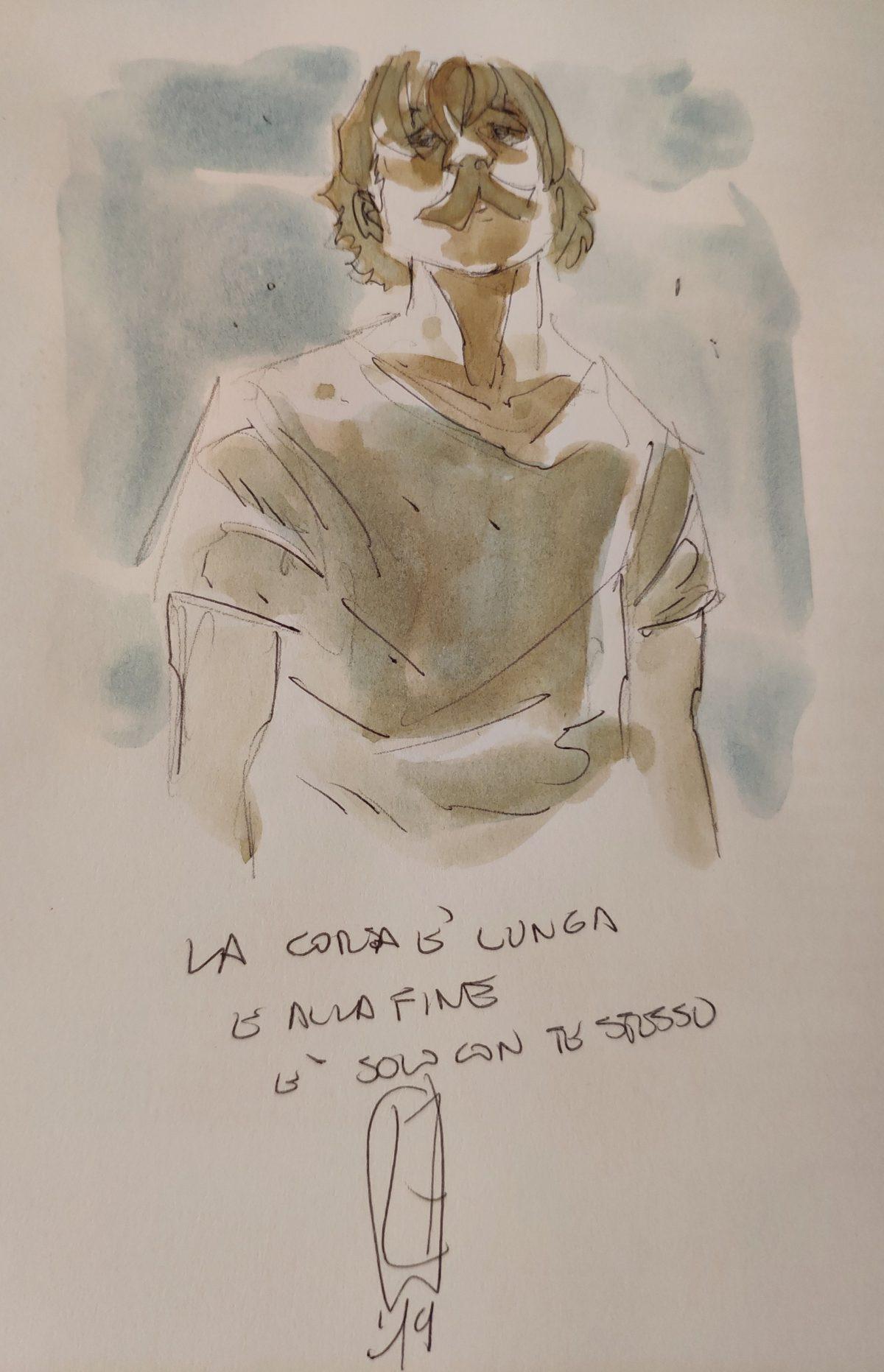 Mio Caro Fumetto - La corsa è lunga e alla fine è solo con te stesso - Dedica di Luca Ferrara sulla mia copia di Dorando Pietri.