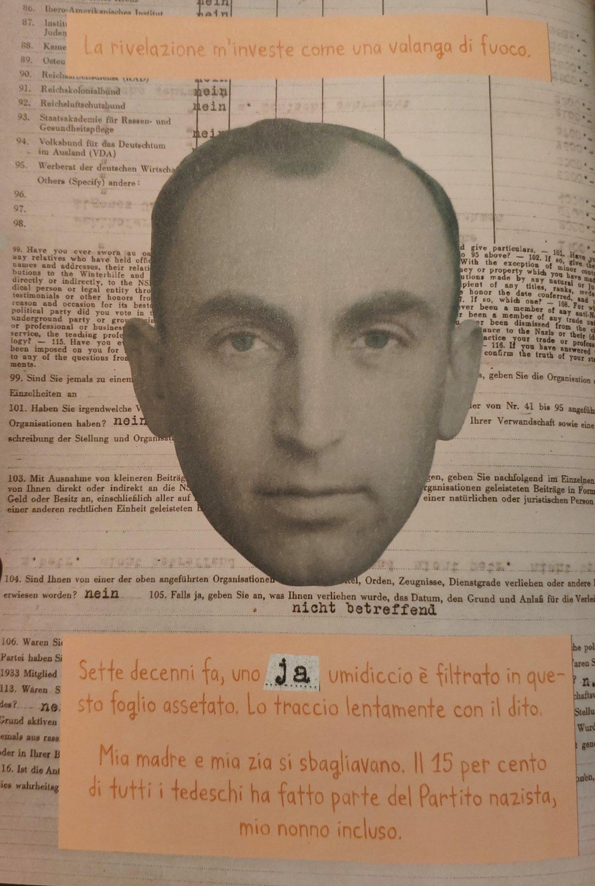 Mio Caro Fumetto - Heimat: un album di famiglia tedesco - Pagina che descrive la scoperta di Nora Krug del fatto che il nonno fosse membro del partito nazista.