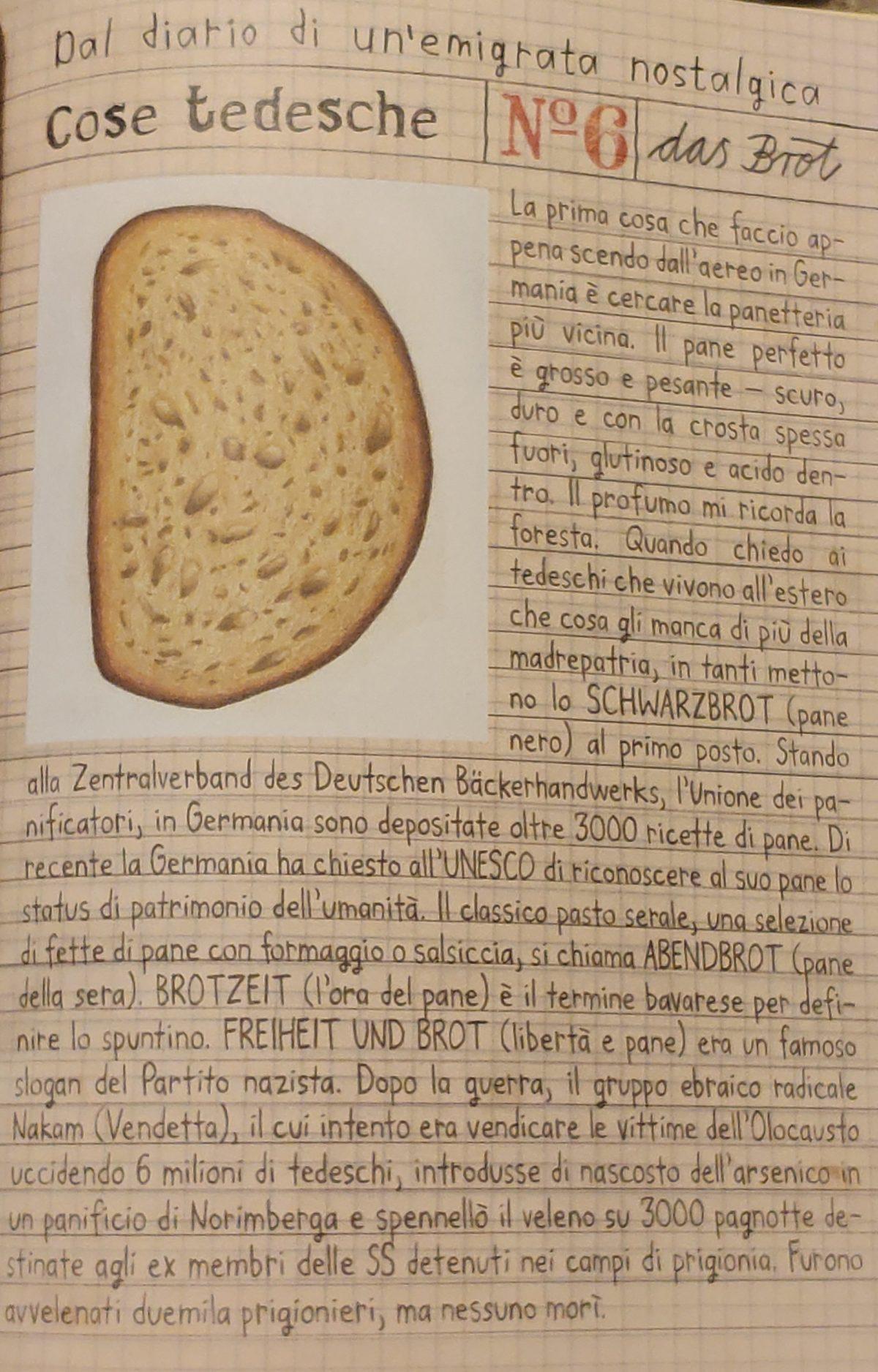 Mio Caro Fumetto - Heimat: un album di famiglia tedesco - Pagina in cui si spiega quanto sia tedesco lo schwarzbrot, il pane nero.