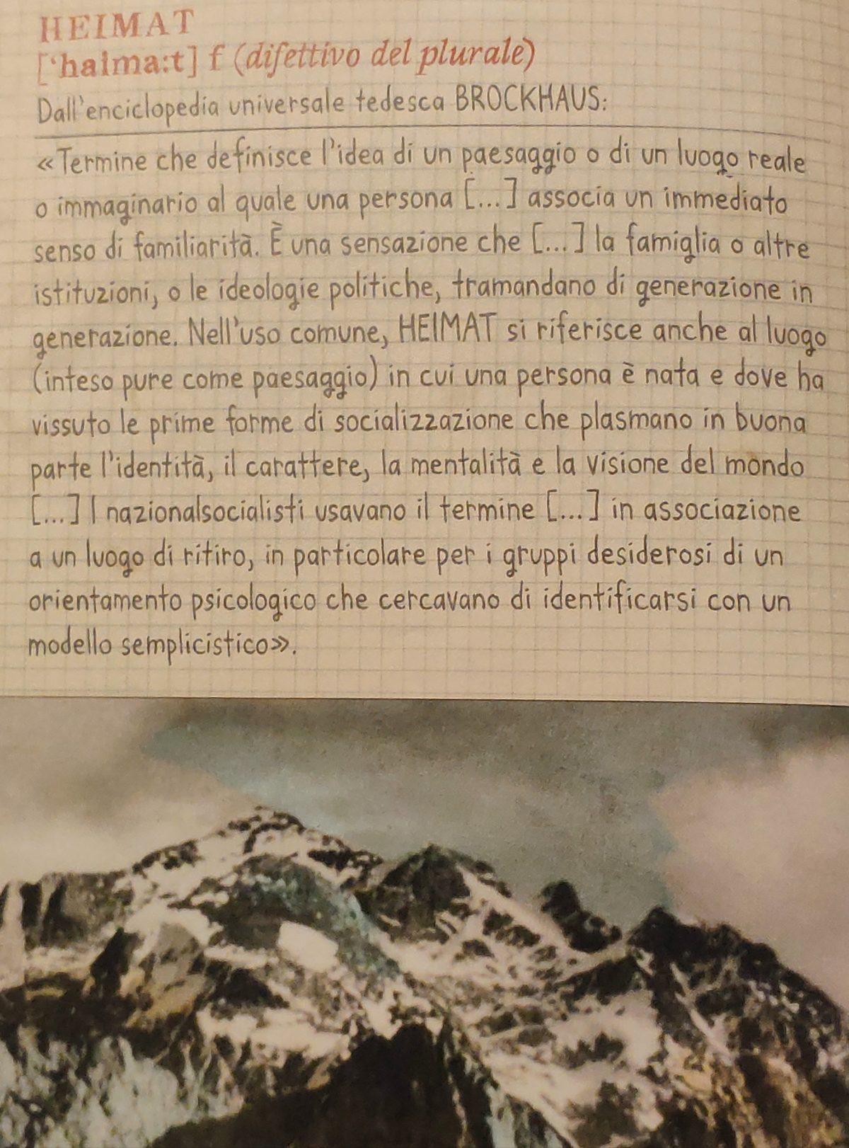 Mio Caro Fumetto - Heimat: un album di famiglia tedesco - Pagina del libro con il significato della parola Heimat.