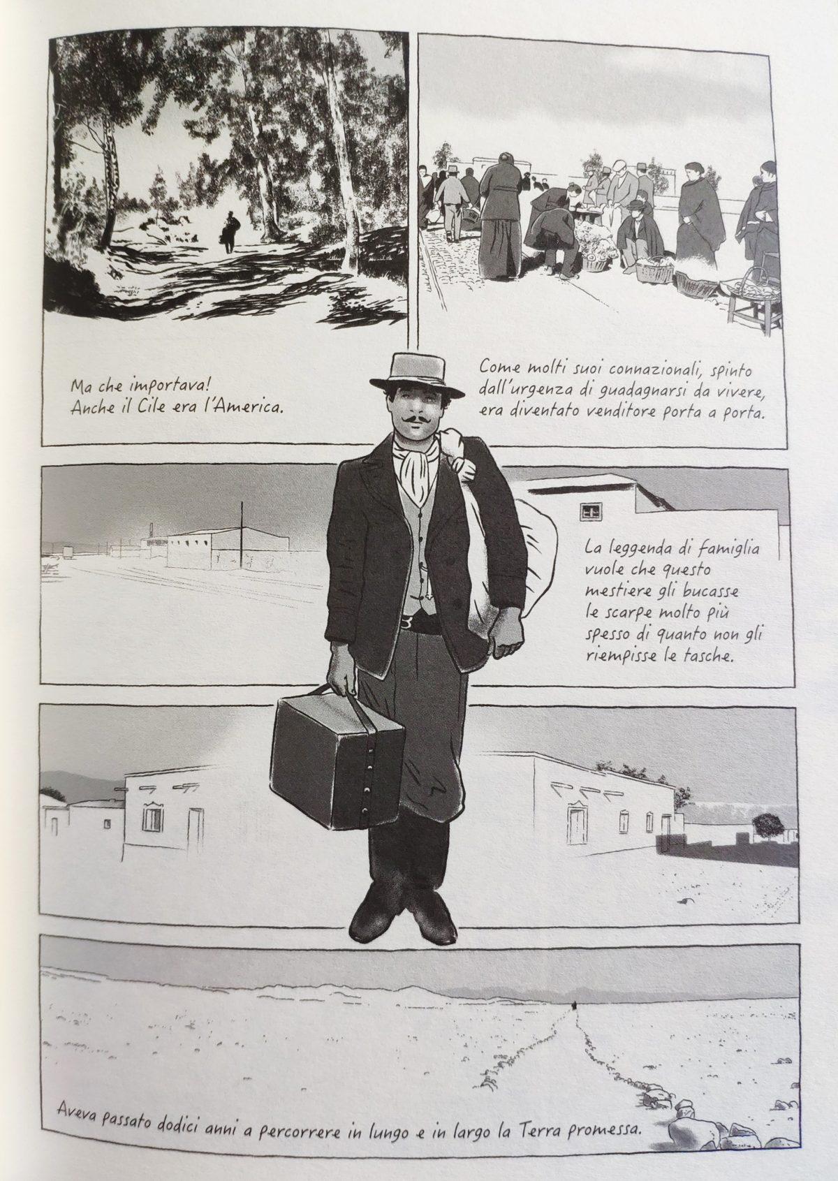 Mio caro fumetto... - Tavola del fumetto in cui Pedro Atías parla del nonno Antonio, arrivato in Cile dal Libano.
