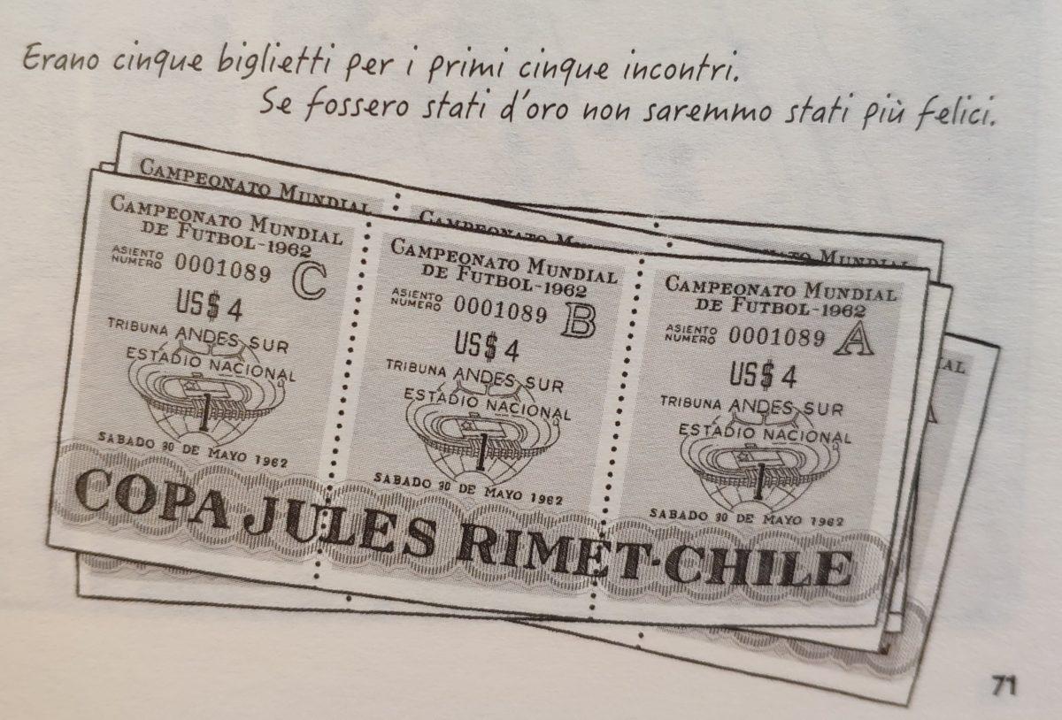 Mio caro fumetto... - Raffigurazione dei biglietti per le partite dei Mondiali di calcio che si disputarono in Cile nel 1962.
