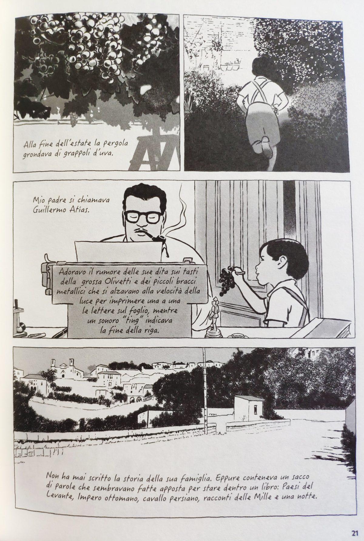 Mio caro fumetto... - Tavola in cui Pedro Atías parla di suo padre Guillermo, raffigurato mentre scrive sulla sua Olivetti.