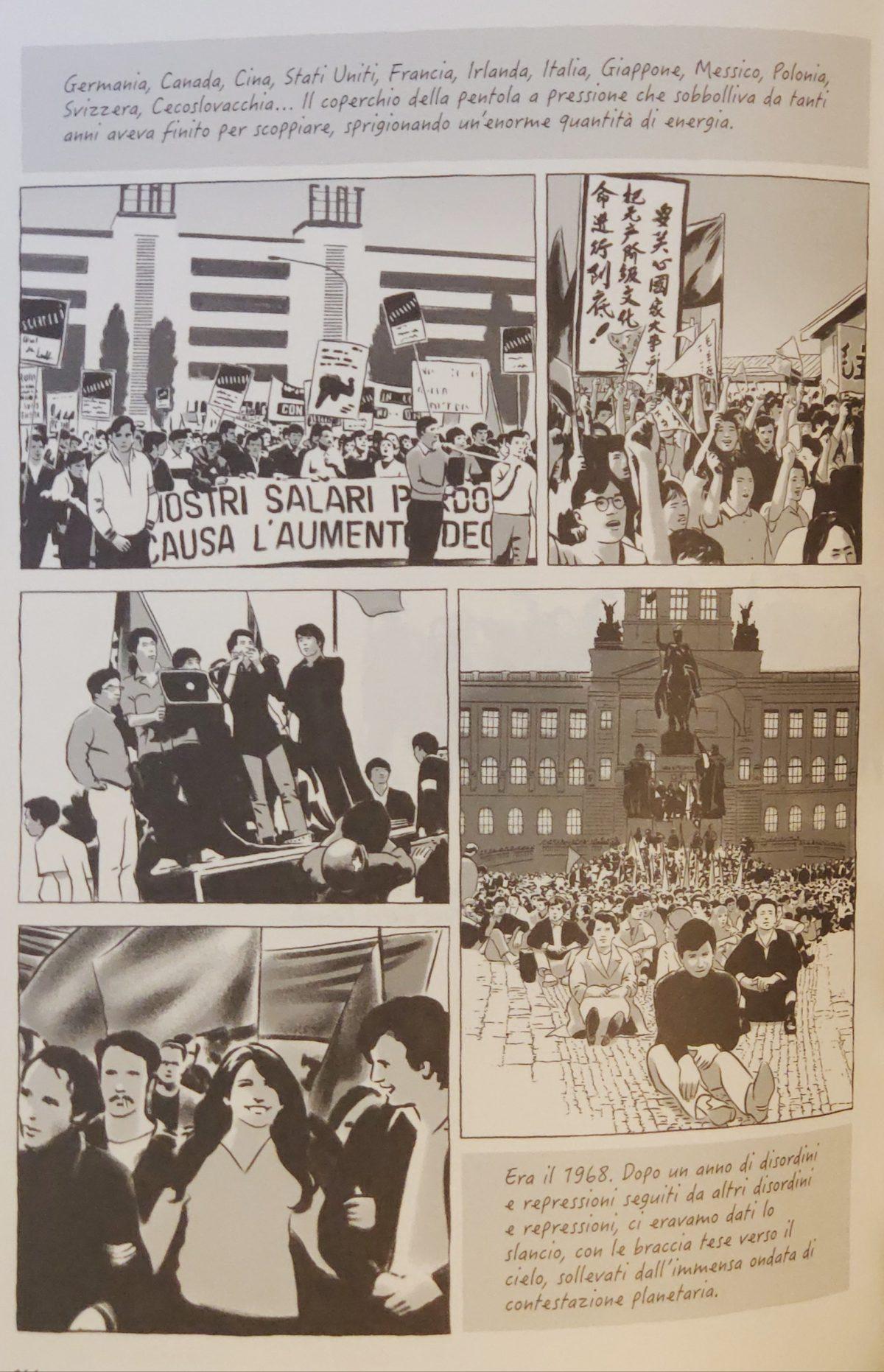 Mio caro fumetto... - Raffigurazioni delle contestazioni giovanili del 1968 in diversi paesi.