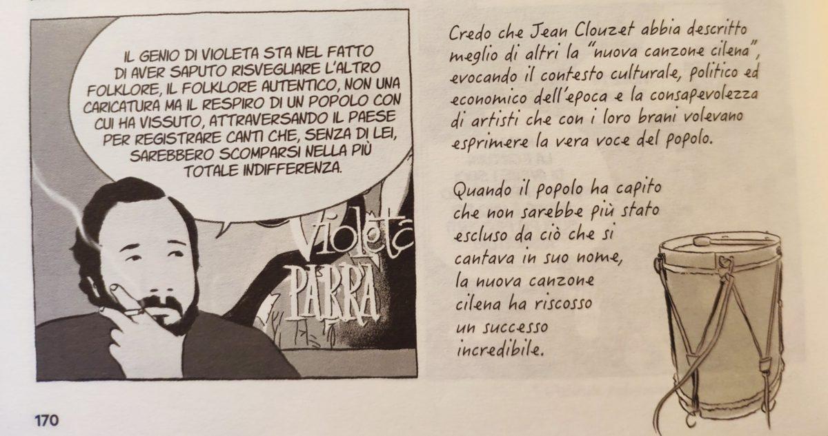 Mio caro fumetto... - Vignetta che spiega l'importanza di Violeta Parra per la nuova musica cilena.