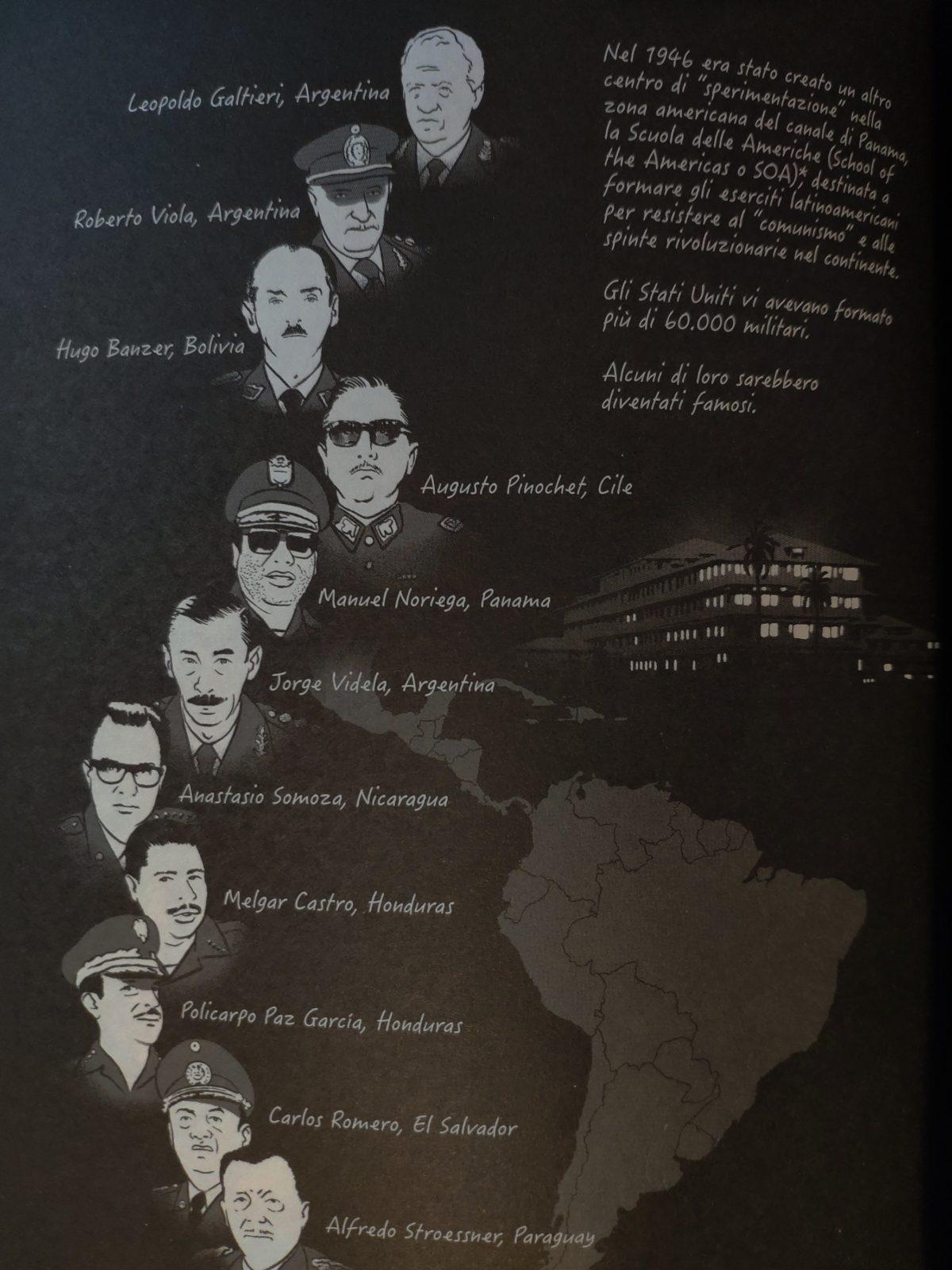 Mio caro fumetto... - Tavola che rappresenta i dittatori latinoamericani usciti dalla Scuola delle Americhe.