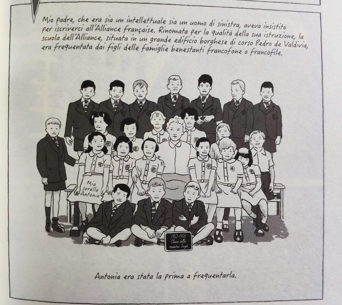 Mio caro fumetto... - Vignetta che rappresenta la classe dell'Alliance Française frequentata dalla sorella di Pedro Atías, Antonia, in posa come nell'atto di fare la foto di gruppo annuale.
