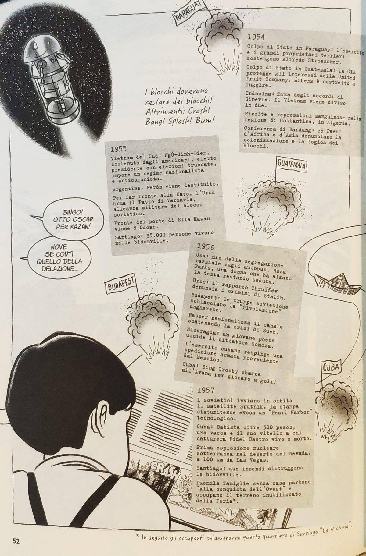 Mio caro fumetto... - Tavola che riassume gli avvenimenti salienti degli anni dal 1954 al 1957.