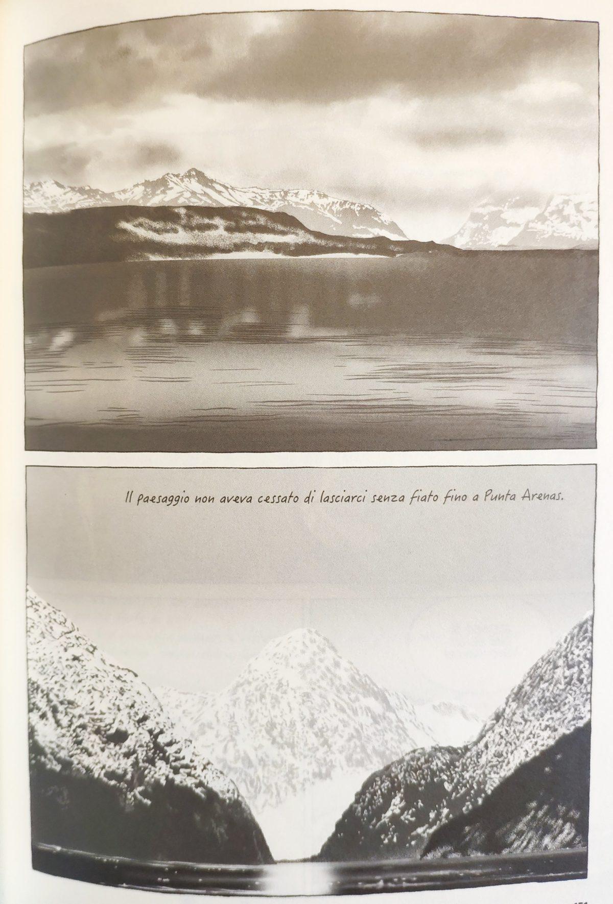Mio caro fumetto... - Paesaggio mozzafiato cileno con mare e montagne innevate sullo sfondo, di là dove finisce la terra