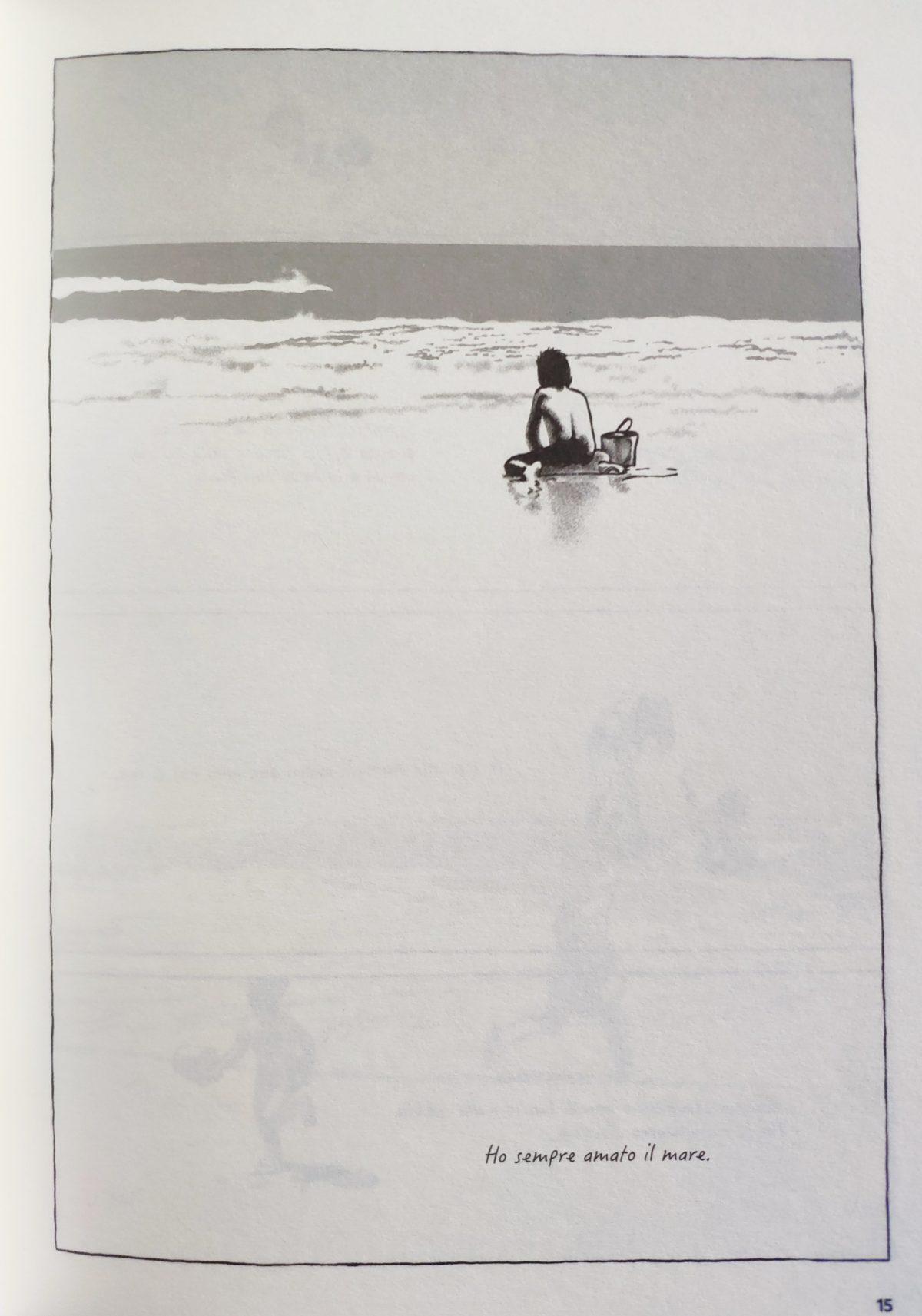 Mio caro fumetto... - Tavola che raffigura Pedro Atías bambino sul bagnasciuga che guarda che gioca con la sabbia e il secchiello  guardando il mare.