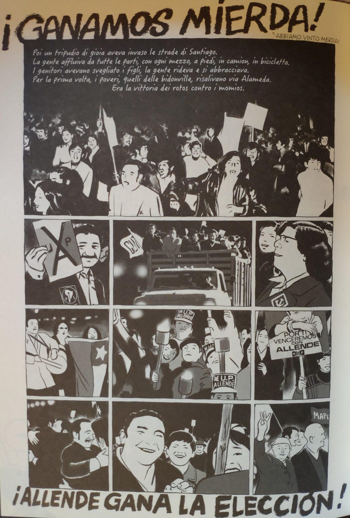 Mio caro fumetto... - Tavola di Là dove finisce la terra che raffigura la gente che festeggia in strada per la vittoria di Salvador Allende alle elezioni del 1970.