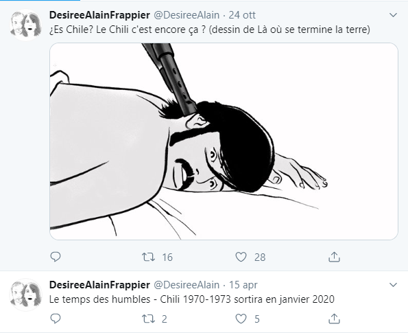 Mio caro fumetto... - Screenshot del tweet con cui  Désirée e Alain Frappier annunciano l'uscita del secondo volume di Là dove finisce la terra