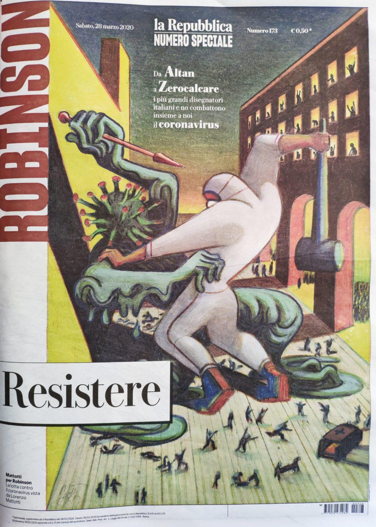 Mio caro fumetto... - Copertina del numero speciale di Robinson dal titolo Resistere