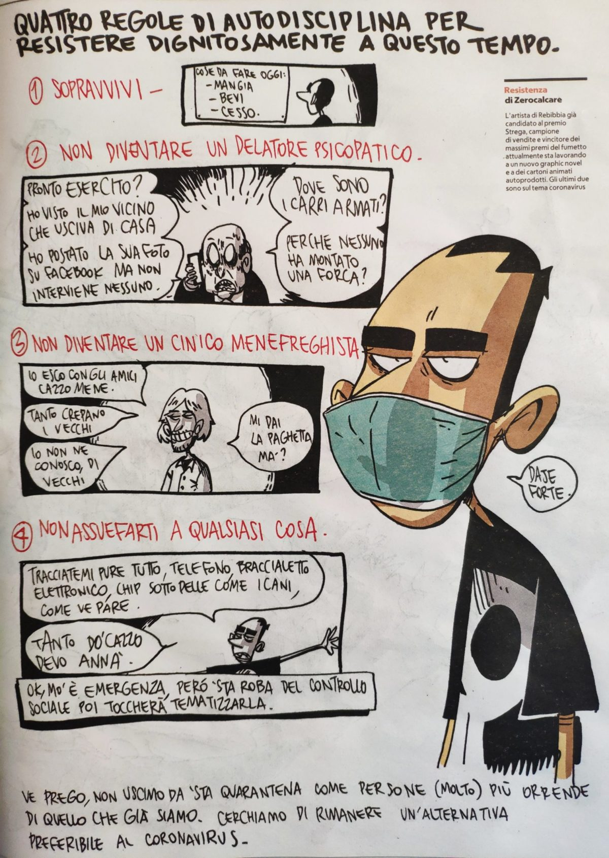Mio caro fumetto... - Regole di autodiscipina ai tempi del coronavirus di Zerocalcare