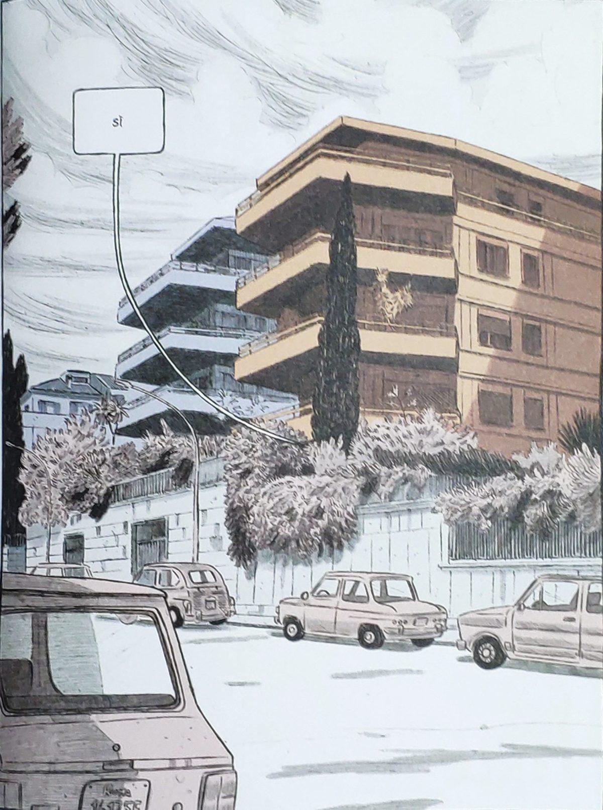 Mio caro fumetto... - Prospetti dei palazzi di via Camillo Montalcini. Realismo dei disegni di Rosso è il perdono