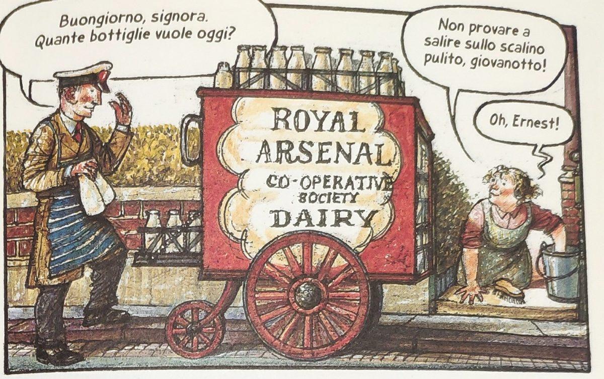 Mio caro fumetto... - Ernest con il suo carretto del latte scherza con Ethel