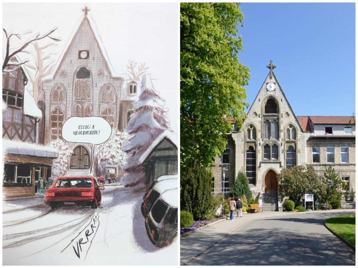 Mio caro fumetto… - Realismo dei disegni di Imparare a cadere: la chiesa di Neuerkerode