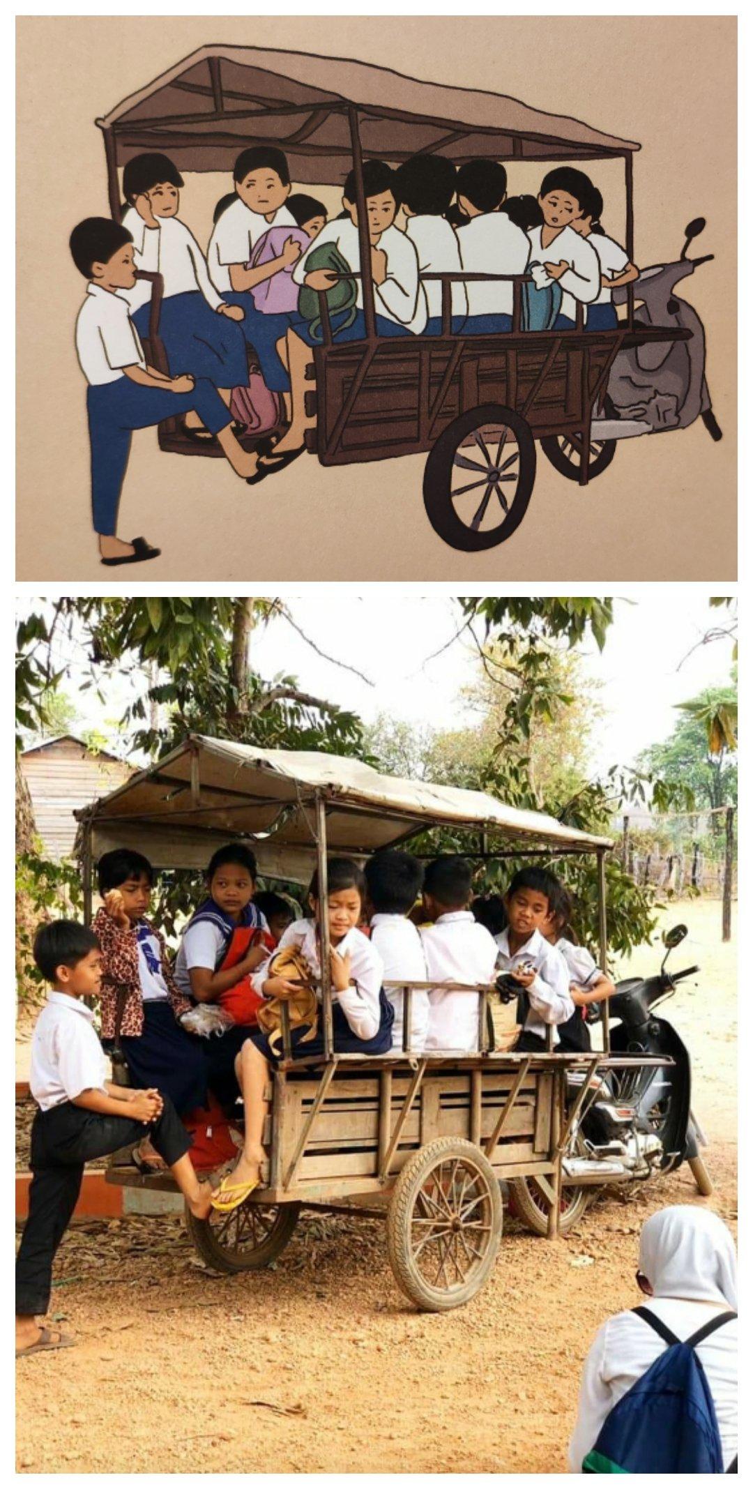 Mio caro fumetto... Tuk-tuk con i bambini della scuola