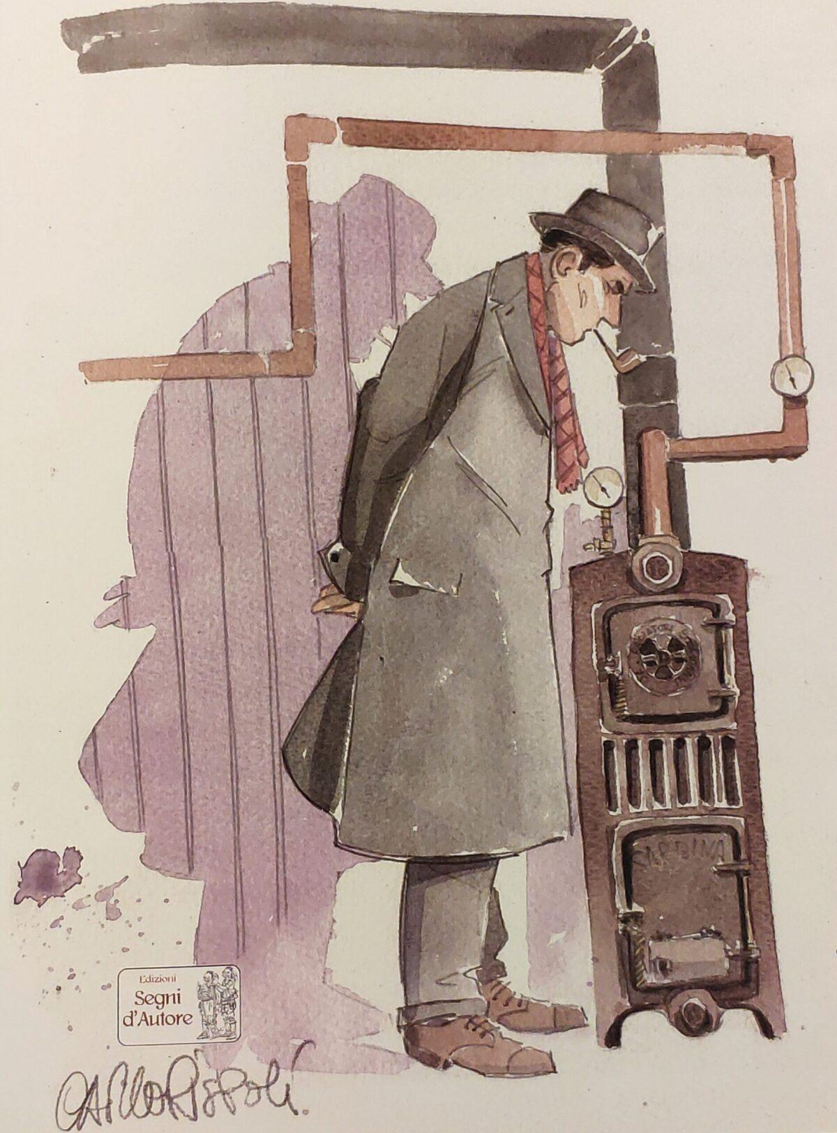 Mio caro fumetto... - Il Commissario Andrea Baroni esamina la stufa nella casa di Sindelar