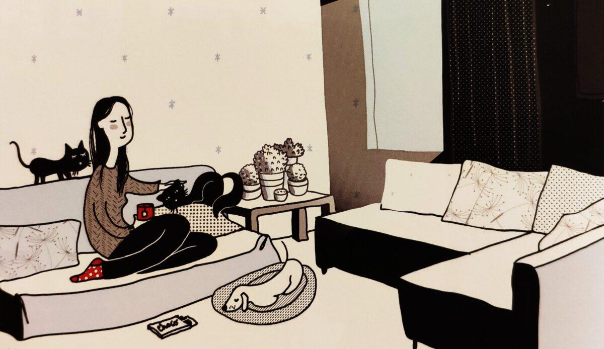 Mio caro fumetto... - Marguerite, protagonista de La differenza invisibile, a casa con i suoi gatti e il suo cane