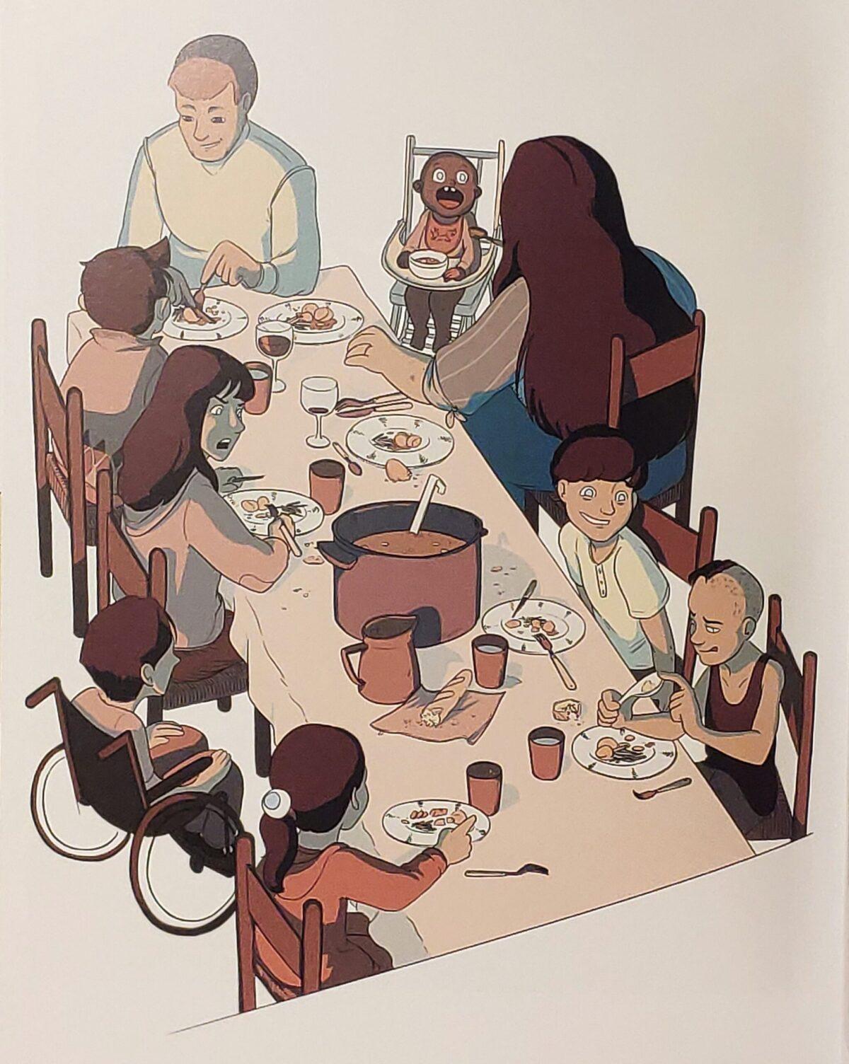 Mio caro fumetto... - Manu a tavola con la famiglia alla quale ha offerto il suo sostegno