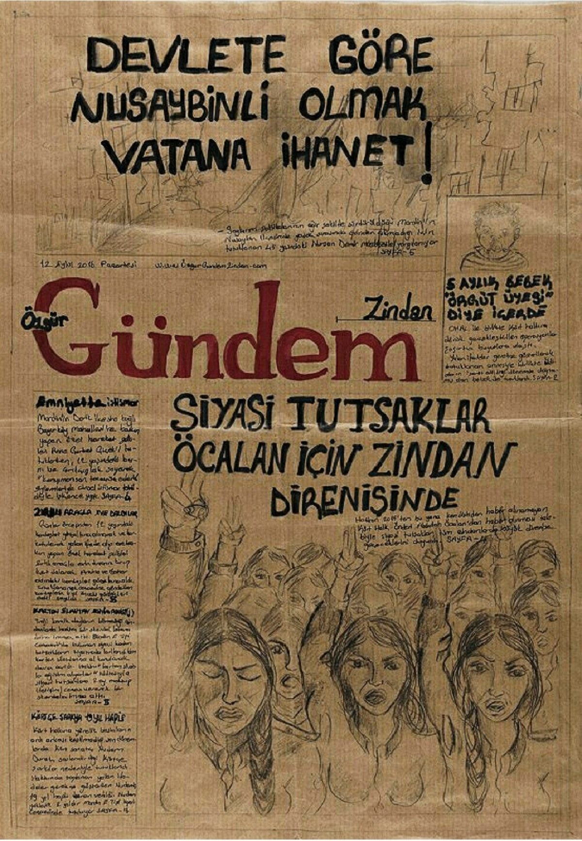 Mio caro fumetto... - Il primo numero del giornale Özgür Gündem Zindan realizzato a Mardin