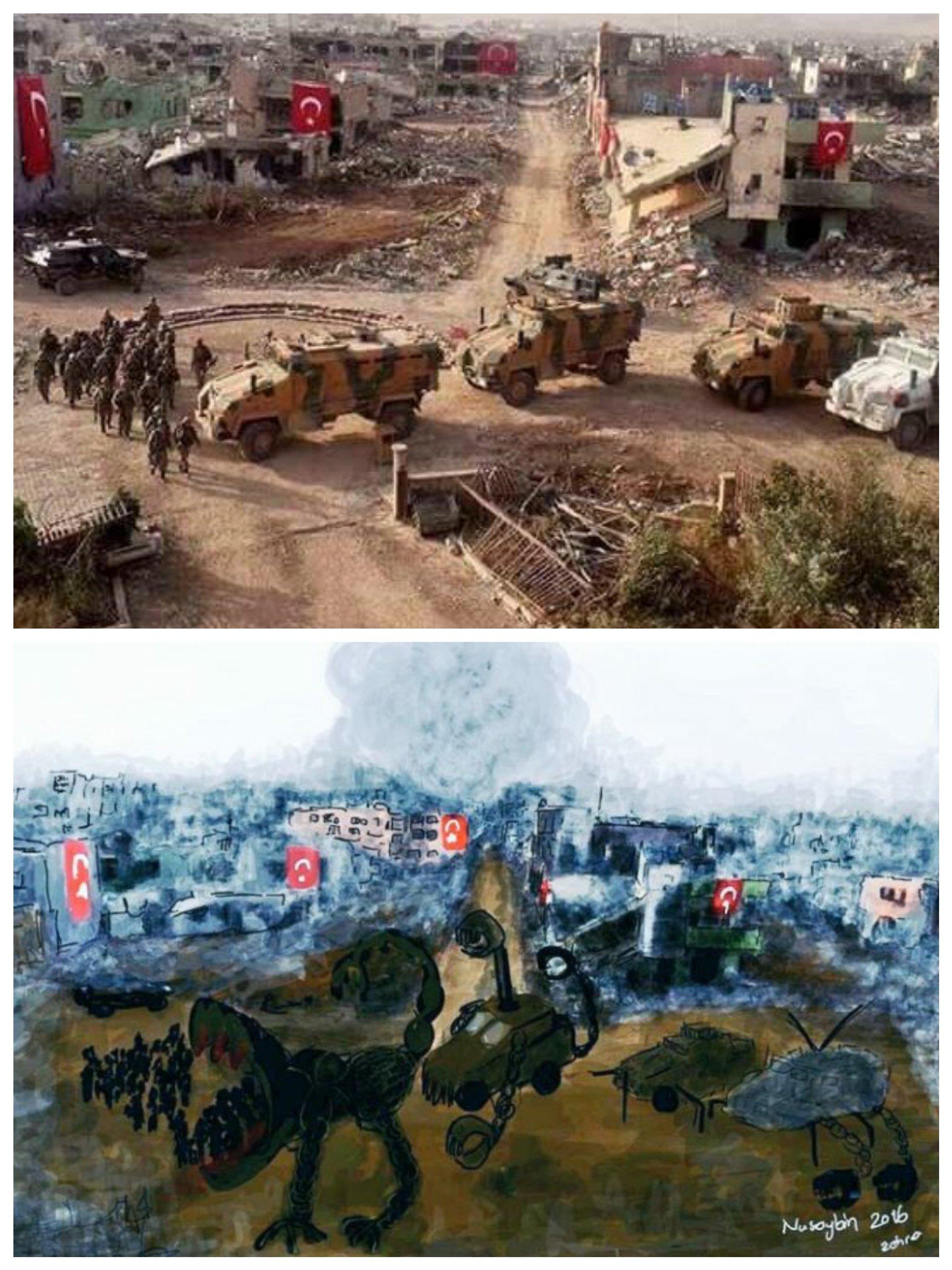 Mio caro fumetto... - Foto di Nusaybin distrutta e relativo disegno di Zehra Doğan