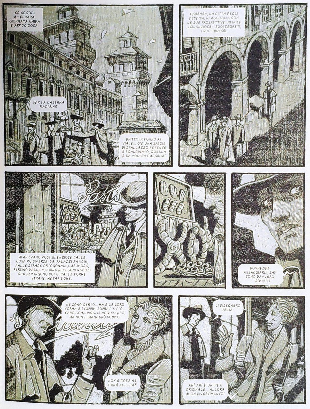 Mio caro fumetto... - Descrizione di Ferrara in De Chirico, Interno metafisico con biscotti