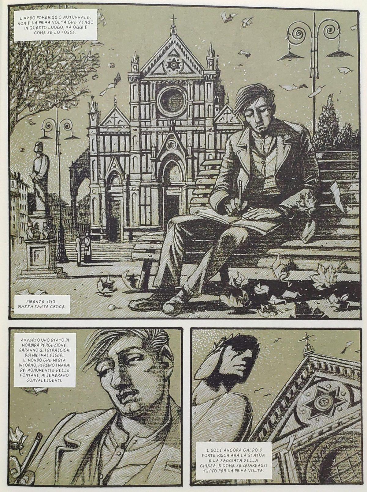 Mio caro fumetto... - Giorgio De Chirico a piazza Santa Croce a Firenze nel 1910