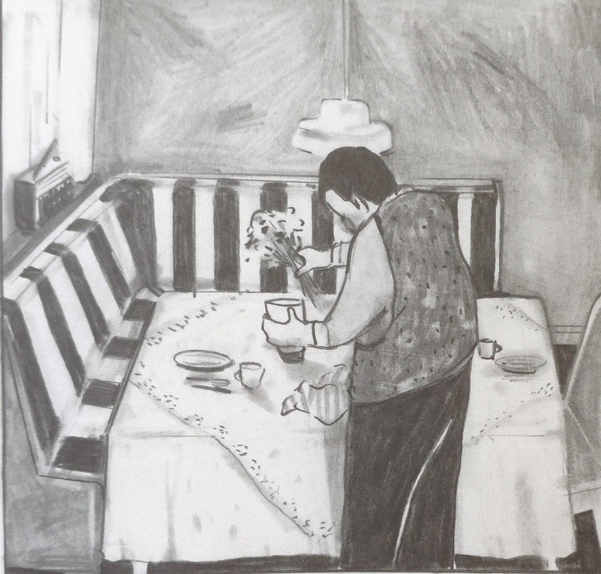 Mio caro fumetto... - Papà Karl abbellisce la tavola nella zona pranzo con la seduta angolare a righe